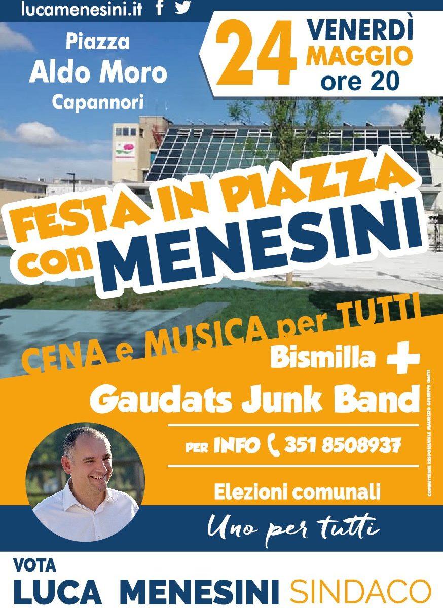 Festa in piazza con Menesini. Cena e musica per tutti